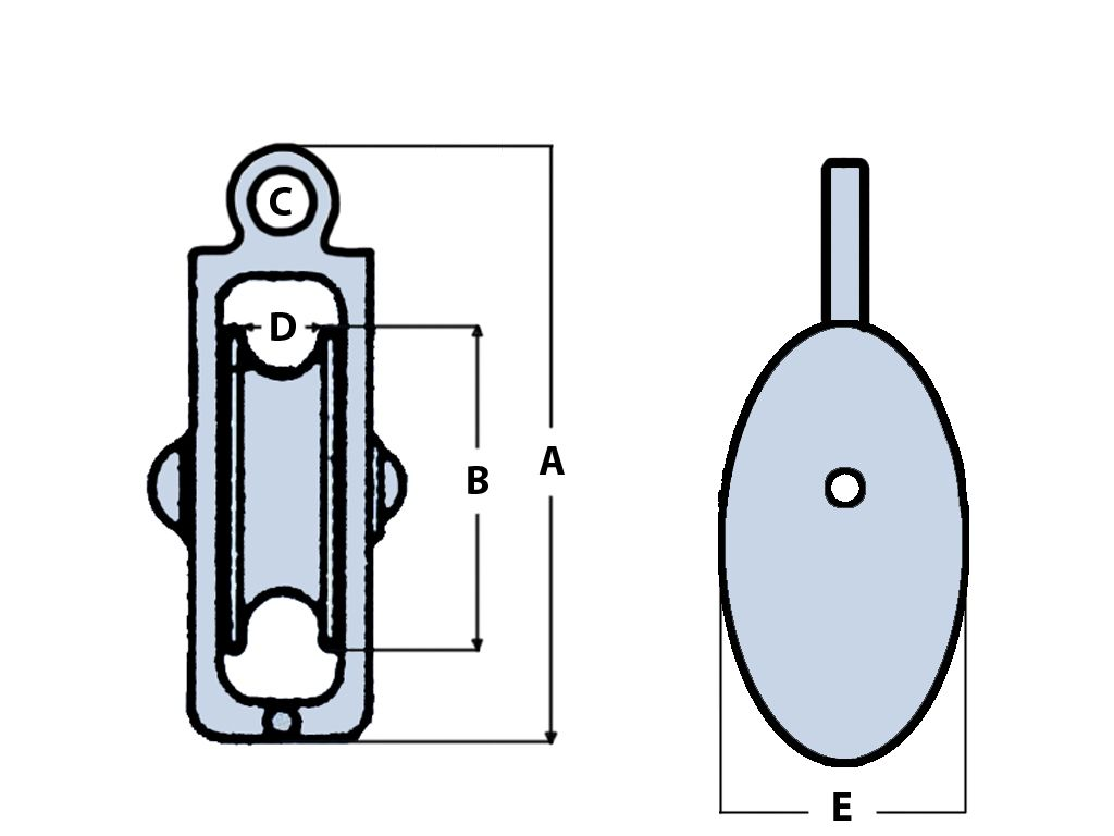 40MM Awning Pulley Single Cast Sheave Fixed Round Eye - Rope Pulling